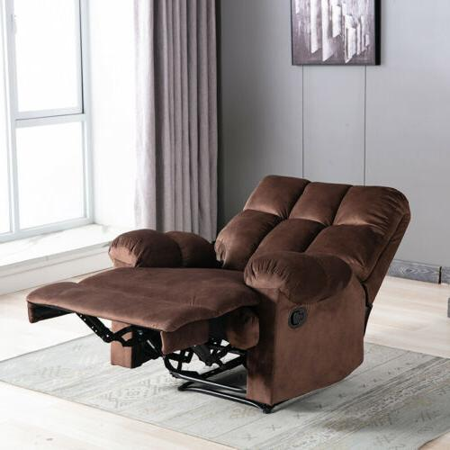 Overstuffed Manual Recliner Armchair Wide Lounge Cushion Seat