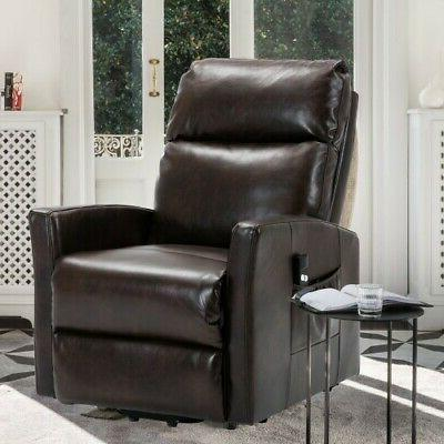Brown Oversized Leather Auto Electric Power Lift Massage Rec