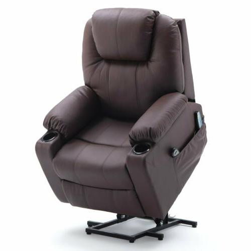 pu leather electric power lift recliner chair