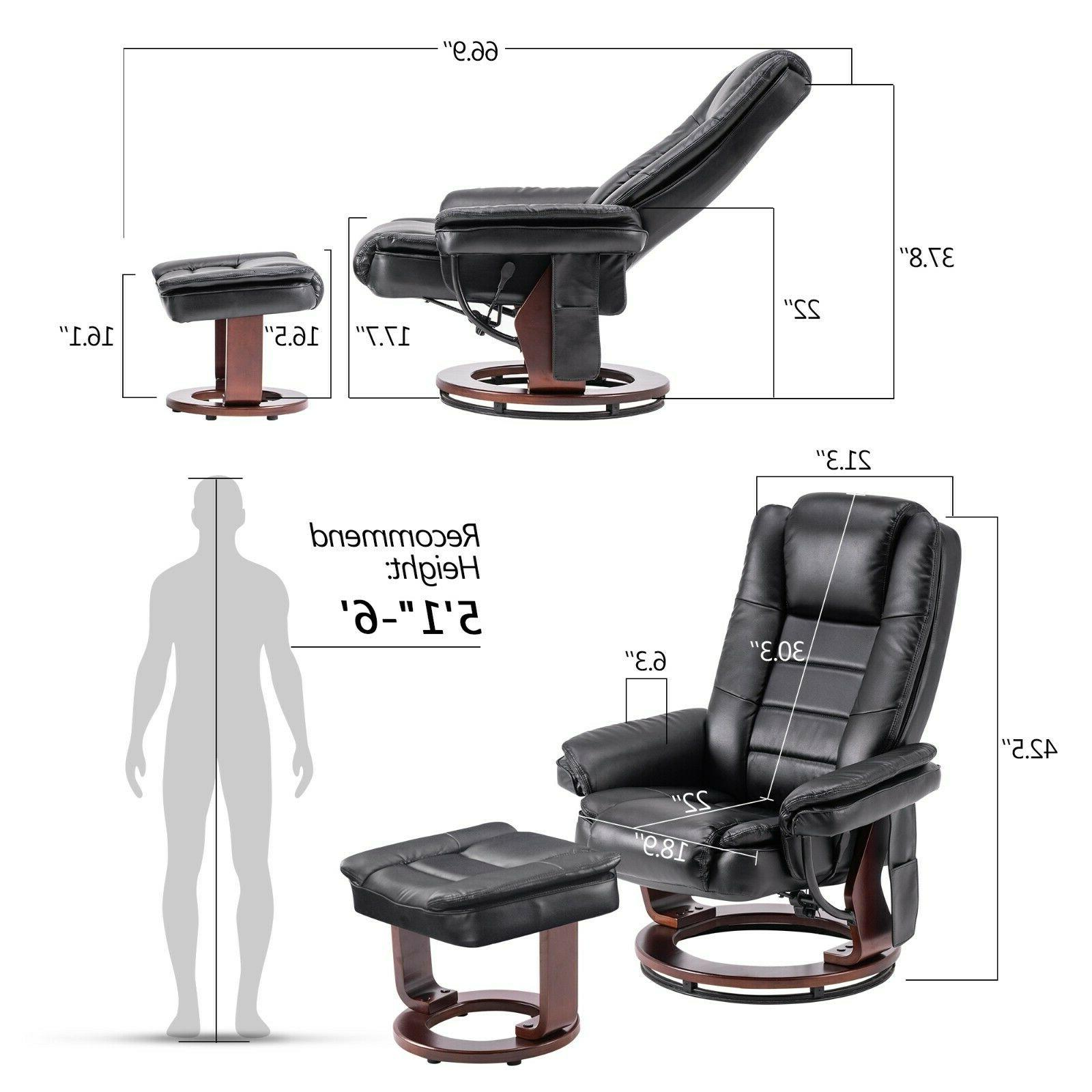 Mcombo Recliner with Chair with Wood Base Chair