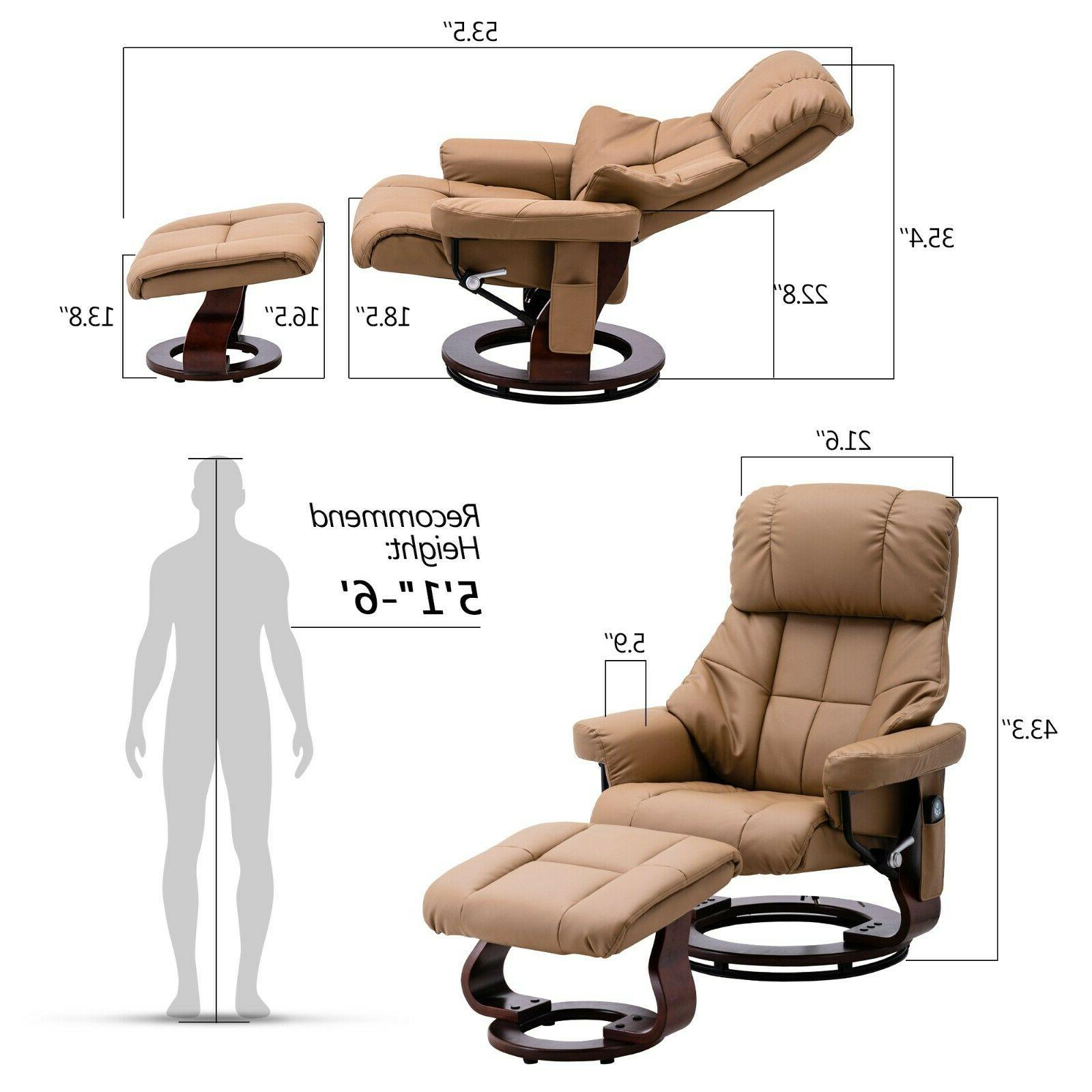 Mcombo Recliner with with Base, Leather 9068