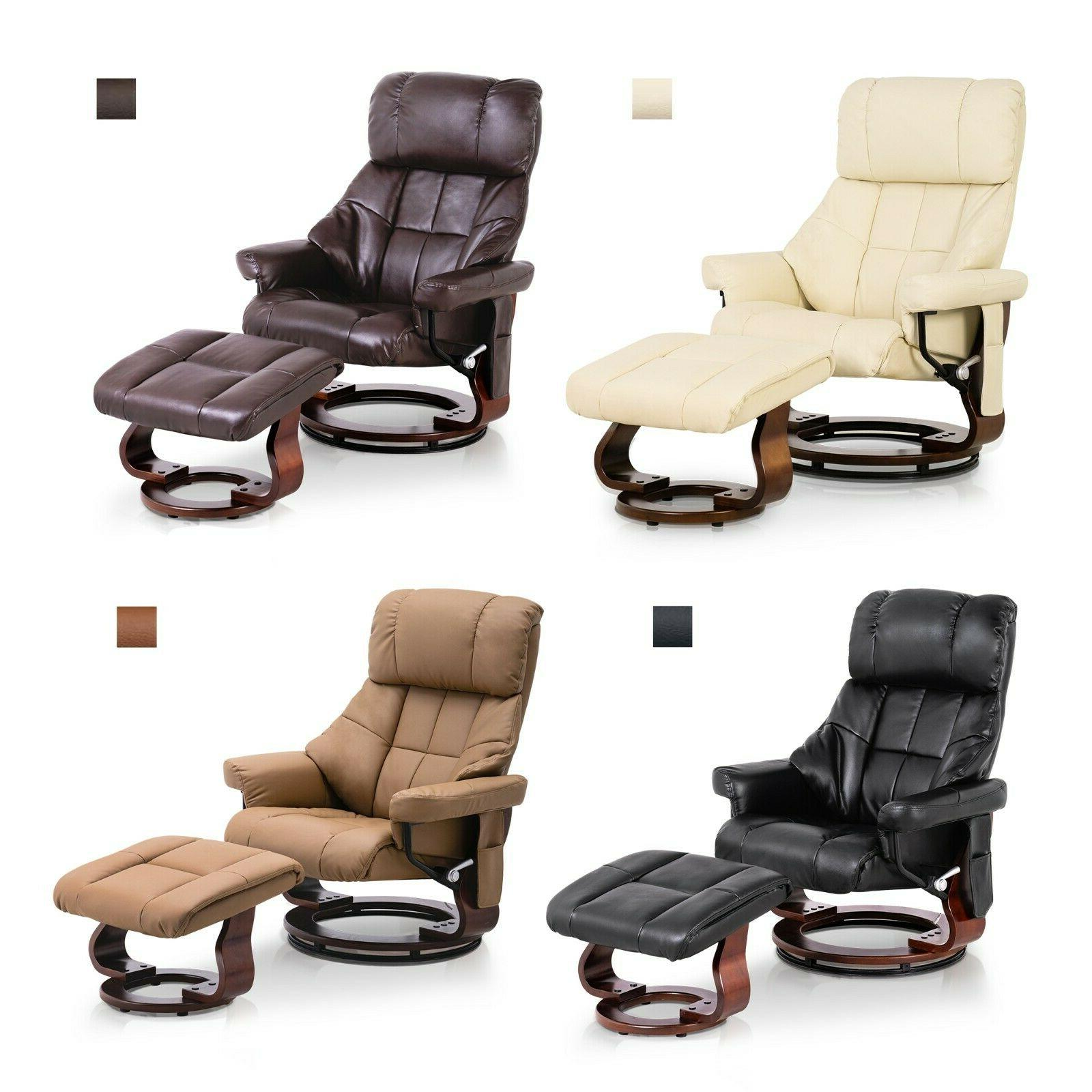 recliner with ottoman with vibration massage wood