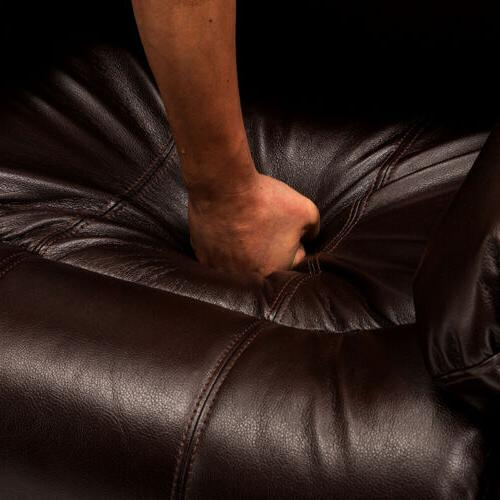 Overstuffed Recliner Heavy Duty Frame Sofa Wide Air Leather