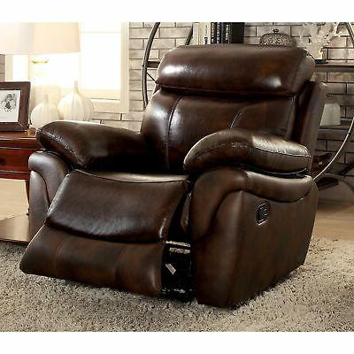 Roman Top Leather Match Recliner