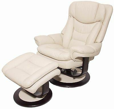 Barcalounger Roscoe Ivory Leather Pedestal Recliner Chair +