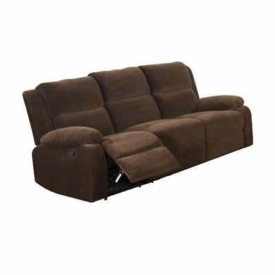 Three Seater Recliner Sofa, Dark Brown Brown