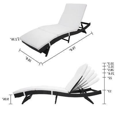 Wicker Chaise Adjustable Chaise Lounge Cushion