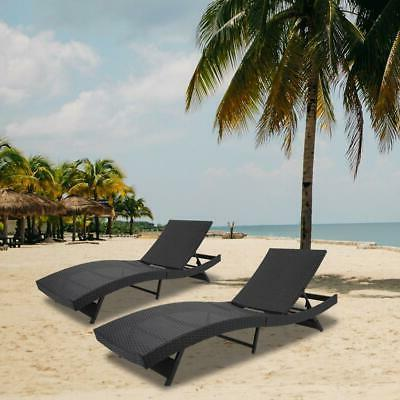 Wicker Outdoor Chaise Chair Recliner Cushion Furniture