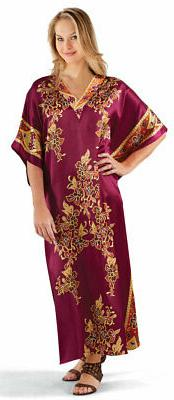 Collections Etc Women's Embroidered Regal Caftan Lounger BUR