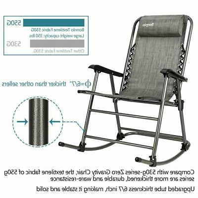 Zero Gravity Rocking Chair Outdoor Portable Recliner for Cam