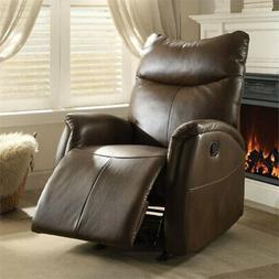 Bowery Hill Leather Aire Rocker Recliner in Brown