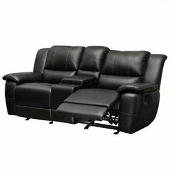 Bowery Hill Faux Leather Gilder Reclining Loveseat in Black