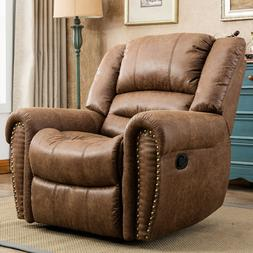 Leather Manual Recliner Chair Overstuffed Arms and Back Loun