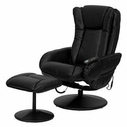 Flash Furniture Leather Massaging Black Recliner with Ottoma