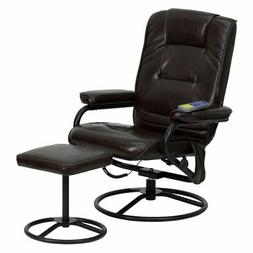 Flash Furniture Leather Massaging Recliner with Ottoman