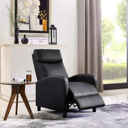 Leather Recliner Accent Chair Push Back Living Room Home Fur
