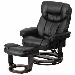 Bowery Hill Leather Recliner in Black