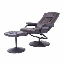 HomCom Leather Recliner and Ottoman Set - Brown