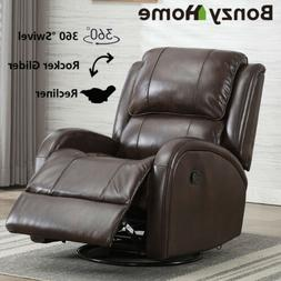 Leather Swivel Rocker Recliner Chair Padded Seat Living Room