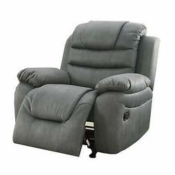 Leatherette Rocker Recliner In Slate Gray Grey Standard