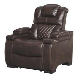 Leatherette Upholstered Metal Power Recliner with Adjustable