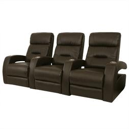 Seatcraft Liberty Brown Home Theater Seating Row of 3 Power