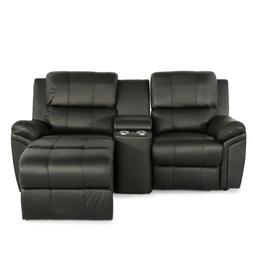 Seatcraft Madison Leather Black Home Theater Seating Power R