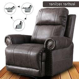 Manual Leather Recliner Chair Overstuffed Back Sofa w/ Nails