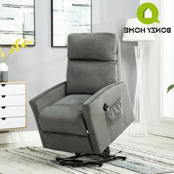 Electric Lift Recliner Chair Sofa Soft Velvet Fabric w/ Remo