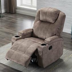 Manual Recliner Chair Ergonomic Design 2 Cup Holders Living