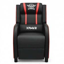 Massage Racing Gaming Single Recliner Chair-Red