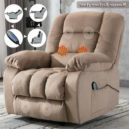 Massage Recliner Chair with Heat Vibration RC Overstuffed Re