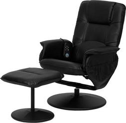 Massaging Black Leather Recliner & Ottoman w/ Leather Wrappe