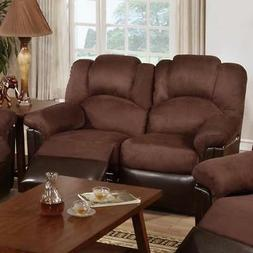 Metal Microfiber Recliner Loveseat, Brown
