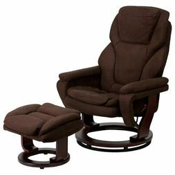Flash Furniture Microfiber Recliner and Ottoman with Wood Ba