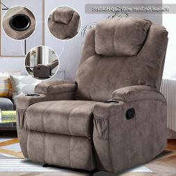 Microfiber Recliner Chair Sofa w/Cup Holders Lazy Boy Style