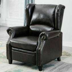 Modern Leather Recliner Chair Push Back Padded Seat Sofa Acc