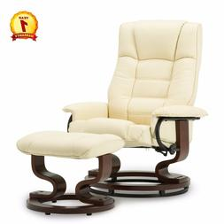 Modern Leather Swiveling Recliner Chair & Ottoman with Swive