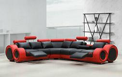 Modern Sectional Living Room Black & Red Bonded Leather Recl