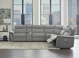 Modern Sofa Sectional Gray Fabric Electric Reclining Living