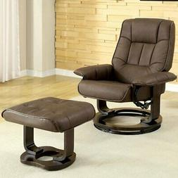 Benzara Modish Swivel Recliner with Ottoman