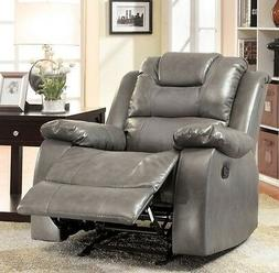 NEW Gray Leather Glider Recliner Recliners Arm Chair Armchai
