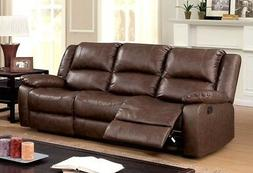 New Tori Transitional Brown Motion Reclining Sofa In Top Gra