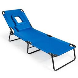 Outdoor Folding Beach Chaise Lounge Chair Adjustable Camping