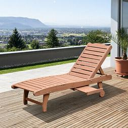 Outsunny Wooden Outdoor Chaise Lounge Patio Pool Chair w/ Na