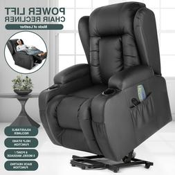 Oversize Auto Electric Power Lift Massage Chair Leather Recl