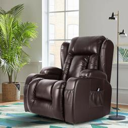 oversize leather massage recliner chair heated rocking