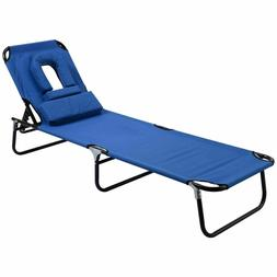 Patio Beach Chaise Lounge Folding Chair Outdoor Camping Recl
