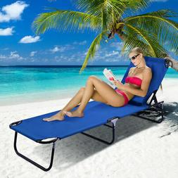 Patio Foldable Chaise Lounge Chair Bed Outdoor Beach Camping