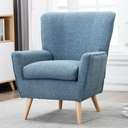 Contemporary Fabric Accent Chair Padded Seat Arm Chair High
